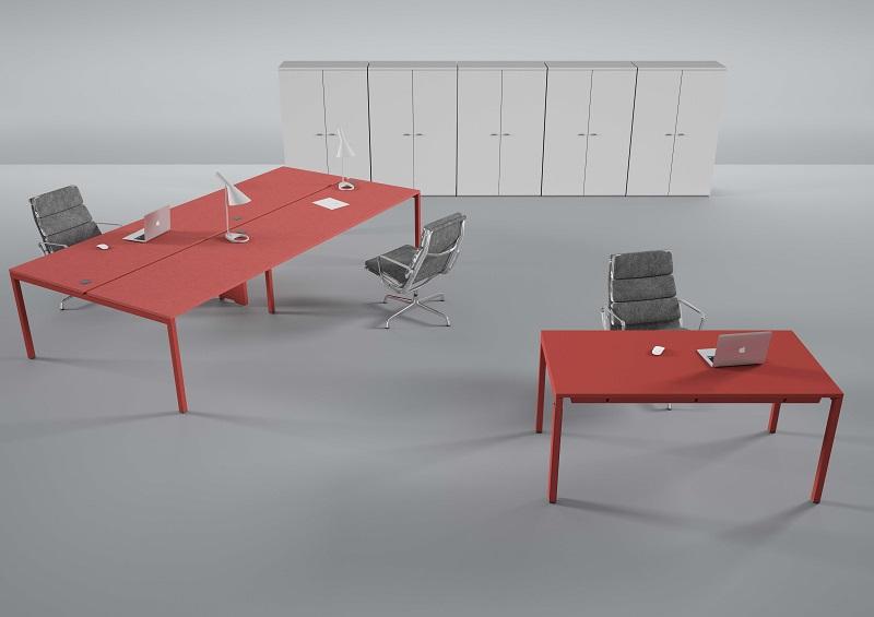 mobiliário - mesas operativas vermelhas