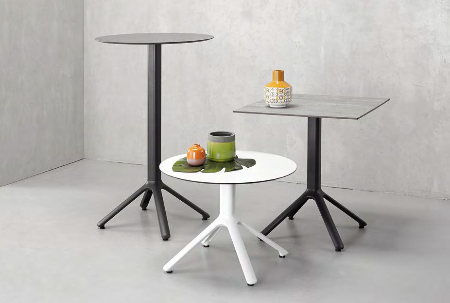 mobiliário - mesas de várias alturas para refeição ou apoio