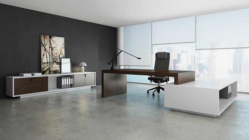 mobiliário - secretária direcional em ambiente de gabinete
