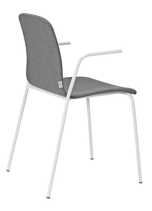 cadeiras multiusus - estrutura branca, acento tecido cinza