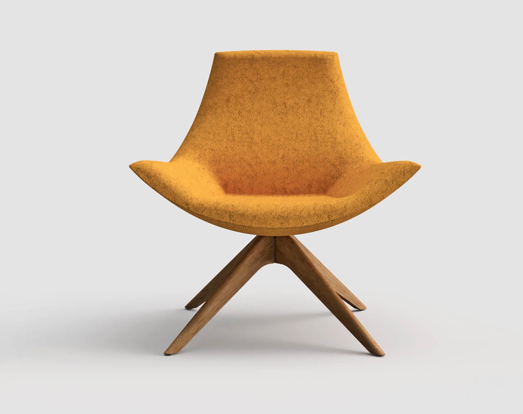 cadeira amarela pernas madeira