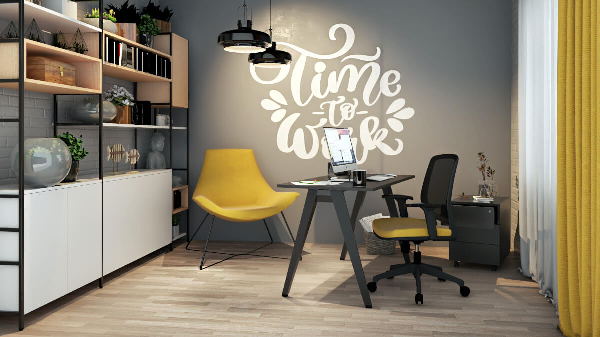 home office amarelo gabinete